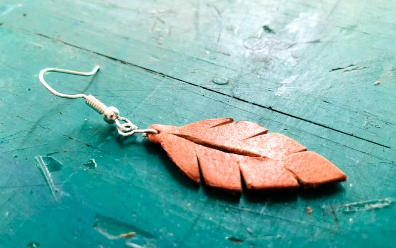 attaching hook to leather leaf earring