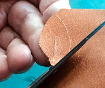 cutting leather leaf earrings