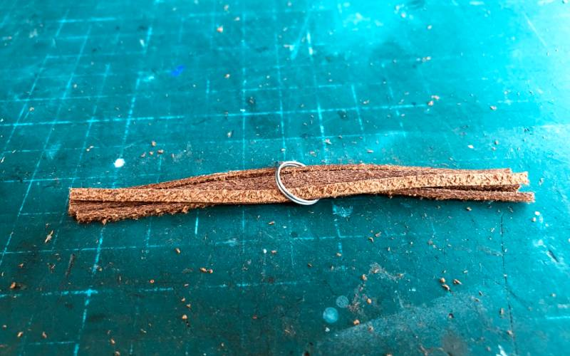 leather tassel earrings insert strips into metal ring